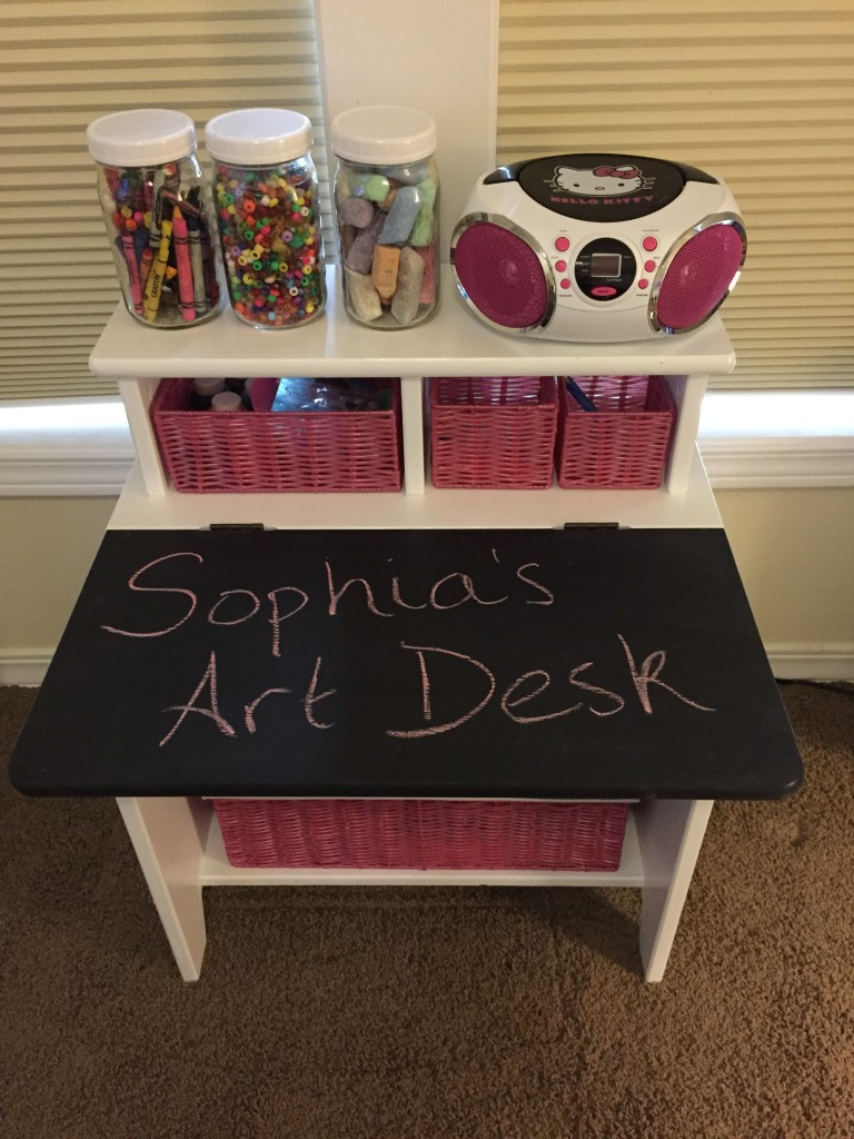 Kid's art desk makeover - after