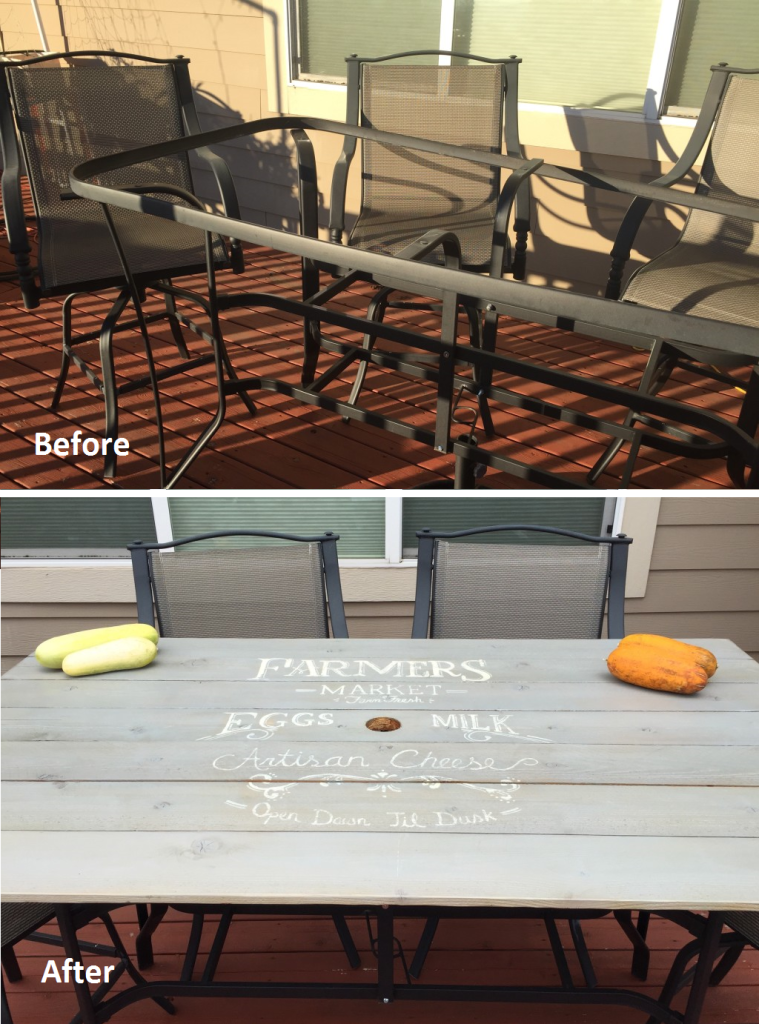 Patio Table Redo - From Broken Glass to Farmer's Market Sign