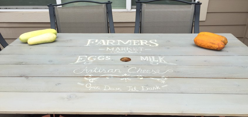 Replaced Broken Glass Patio Tabletop with Farmers Market Sign