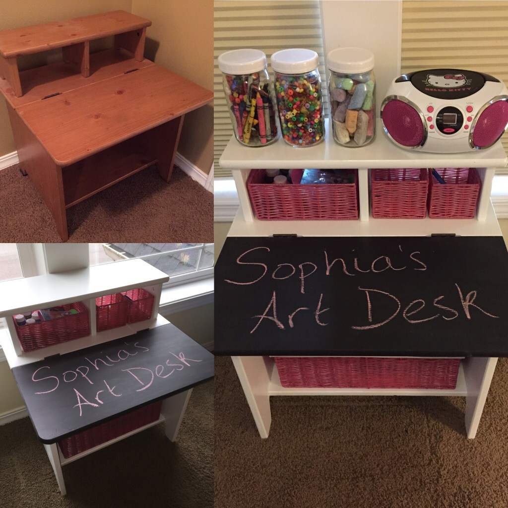 Kid's art desk makeover - before and after