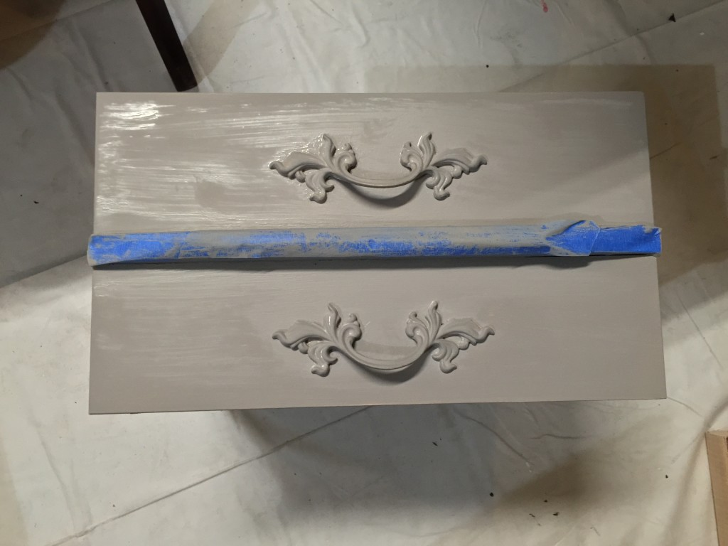 French Provincial nightstand drawer being painted in French Linen ASCP
