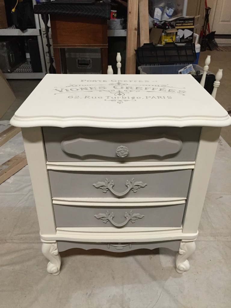 French Provincial nightstand update with Annie Sloan chalk paint and Graphics Fairy furniture transfer