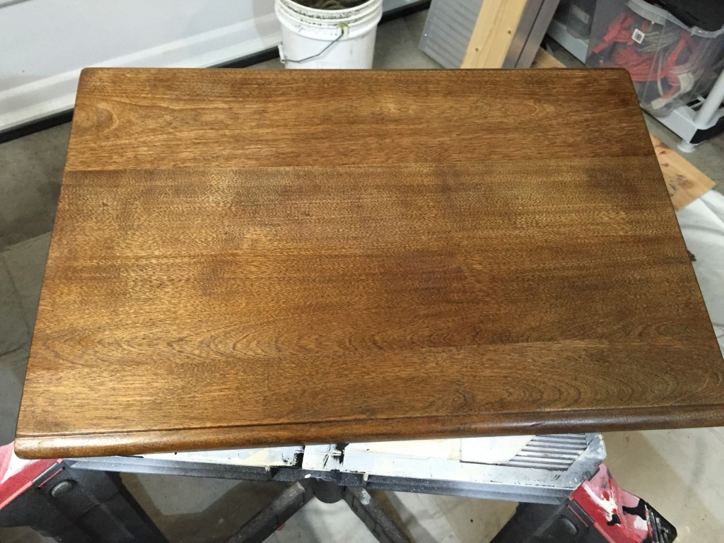 After one 15-minute coat of MinWax dark walnut stain