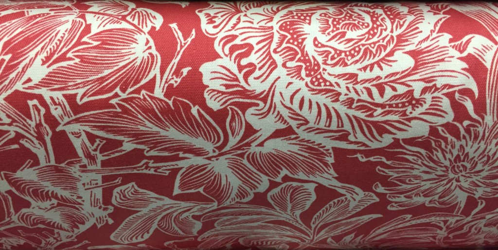 Red fabric for American Federal style chairs with rose carvings