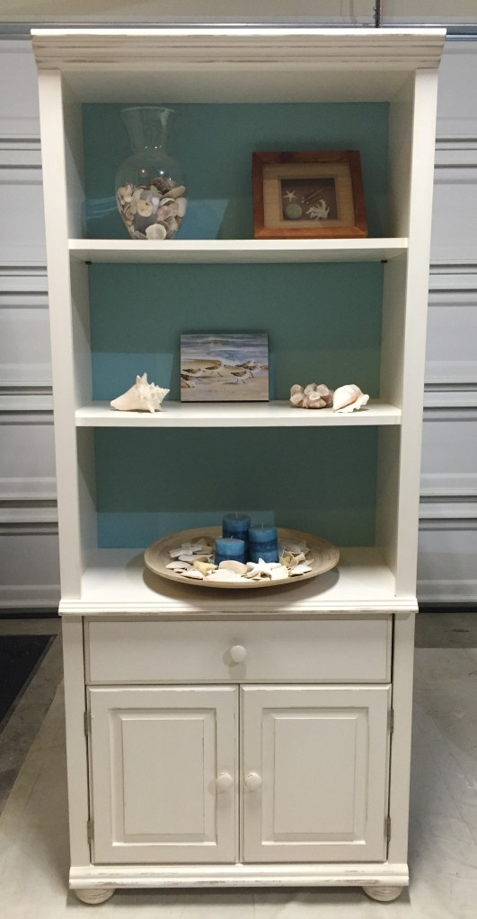 Beach style bookcase makeover - after