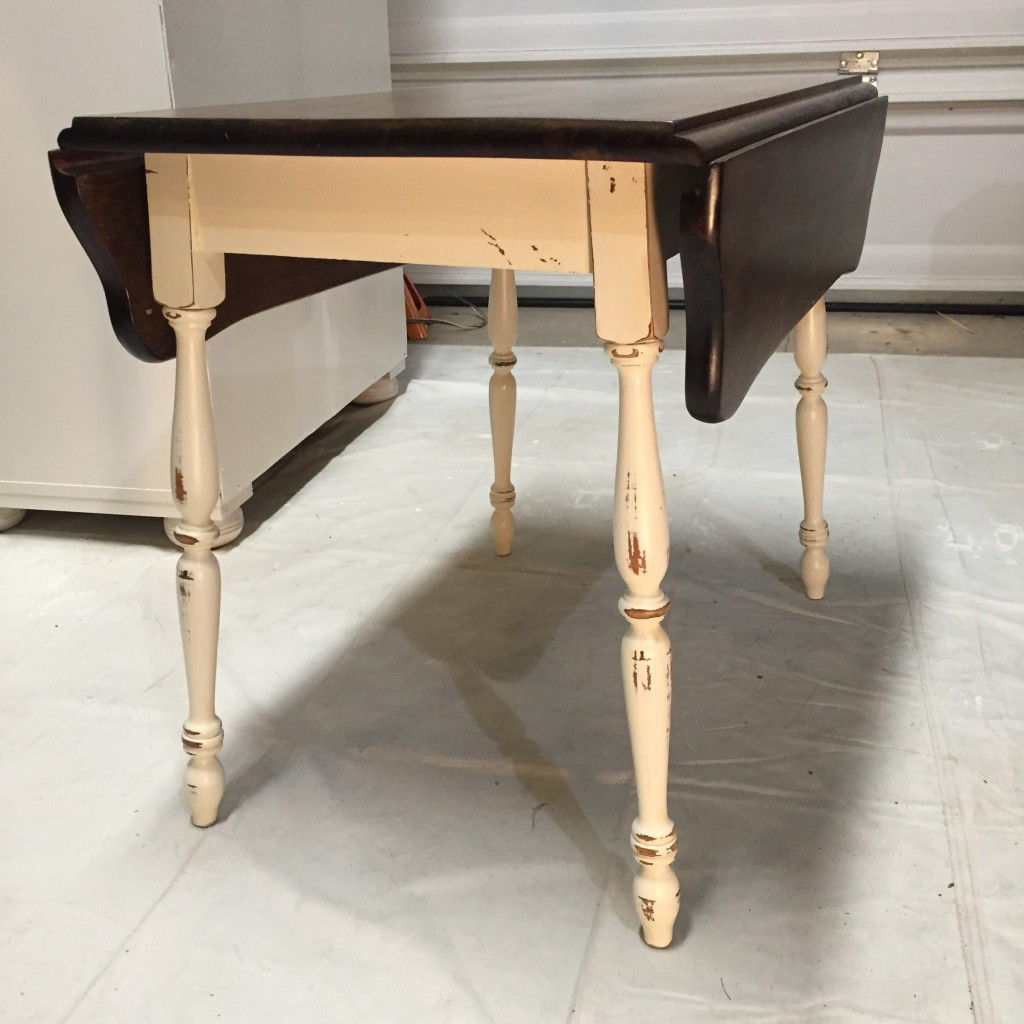 Vintage drop leaf table after painting/distressing in Old White ASCP and refinishing top in Dark Walnut MinWax Stain
