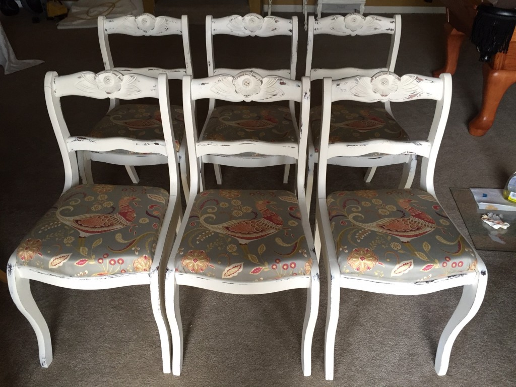 Painted, distressed, reupholstered country chic side chairs